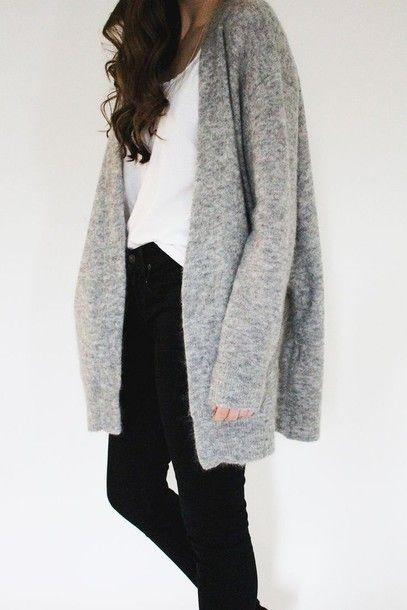 cardigan grey light grey long hipster long sleeves wool jacket ...