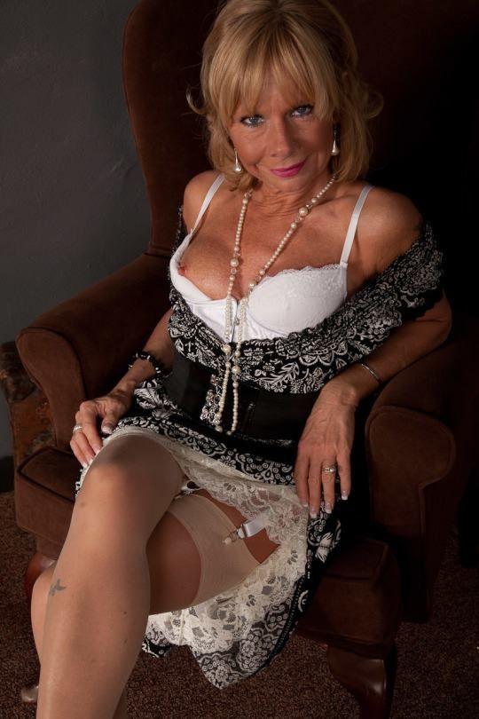 Older women in stockings and suspenders