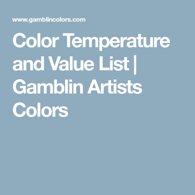Color Temperature And Value List Gamblin Artists Colors Color Values List Color Temperature
