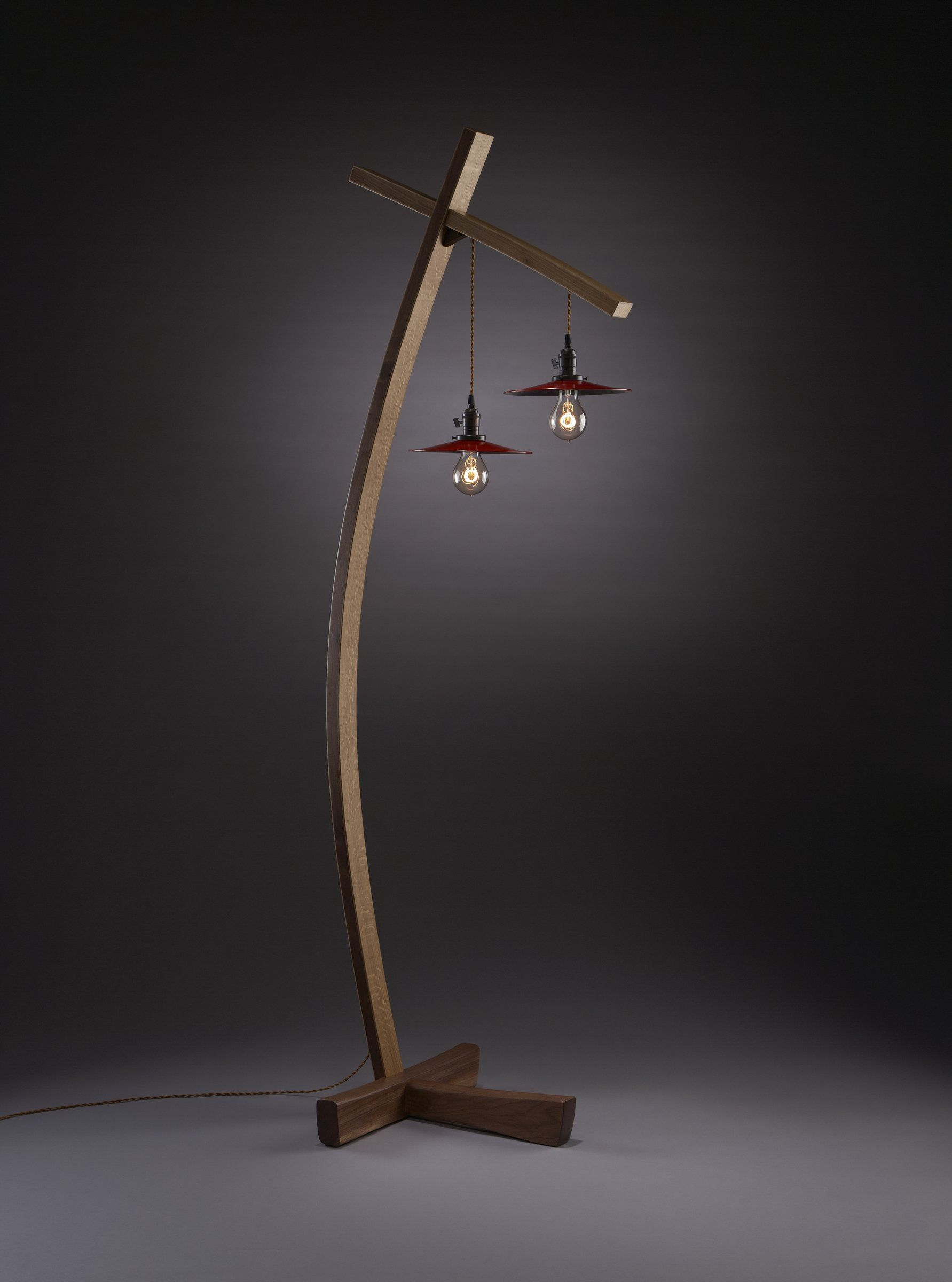 Vintage Style Lighting Suspended From The Bent Laminated Walnut And White Oak Body Base Is Solid 10