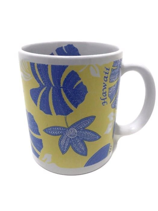 Hilo Hattie Tribal Pareau Yellow Blue Coffee Mug Cup 11 Ounces