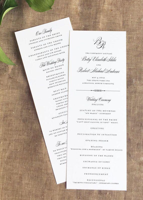 Classic Wedding Ceremony Program Monogram Wedding Program Order Of Service Panel Style Order Of Wedding Ceremony Wedding Ceremony Programs Ceremony Programs