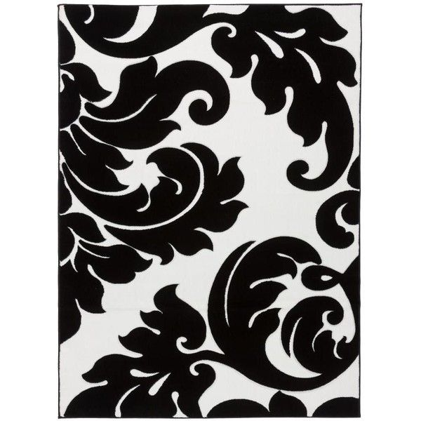 black and white rug patterns. Perfect And Infinity Damask Vines Black White Area Rug 206  Liked On Polyvore  Featuring In Black And Patterns