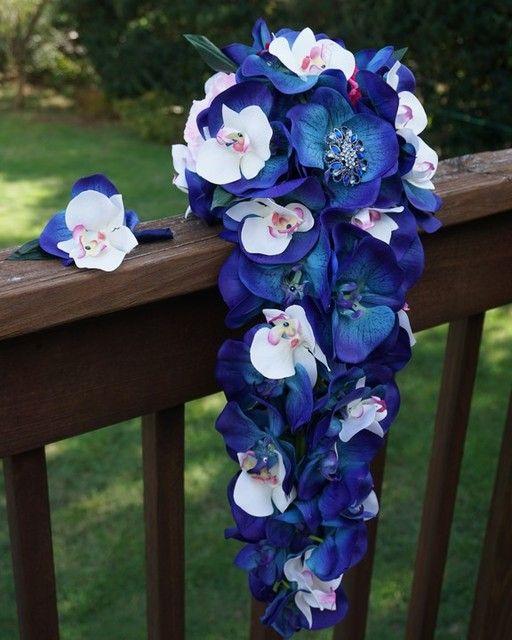 Blue Navy Cornflower Silk Flowers Shop By Color Afloral Com Silk Flowers Wedding Floral Wedding Silk Flower Bouquets