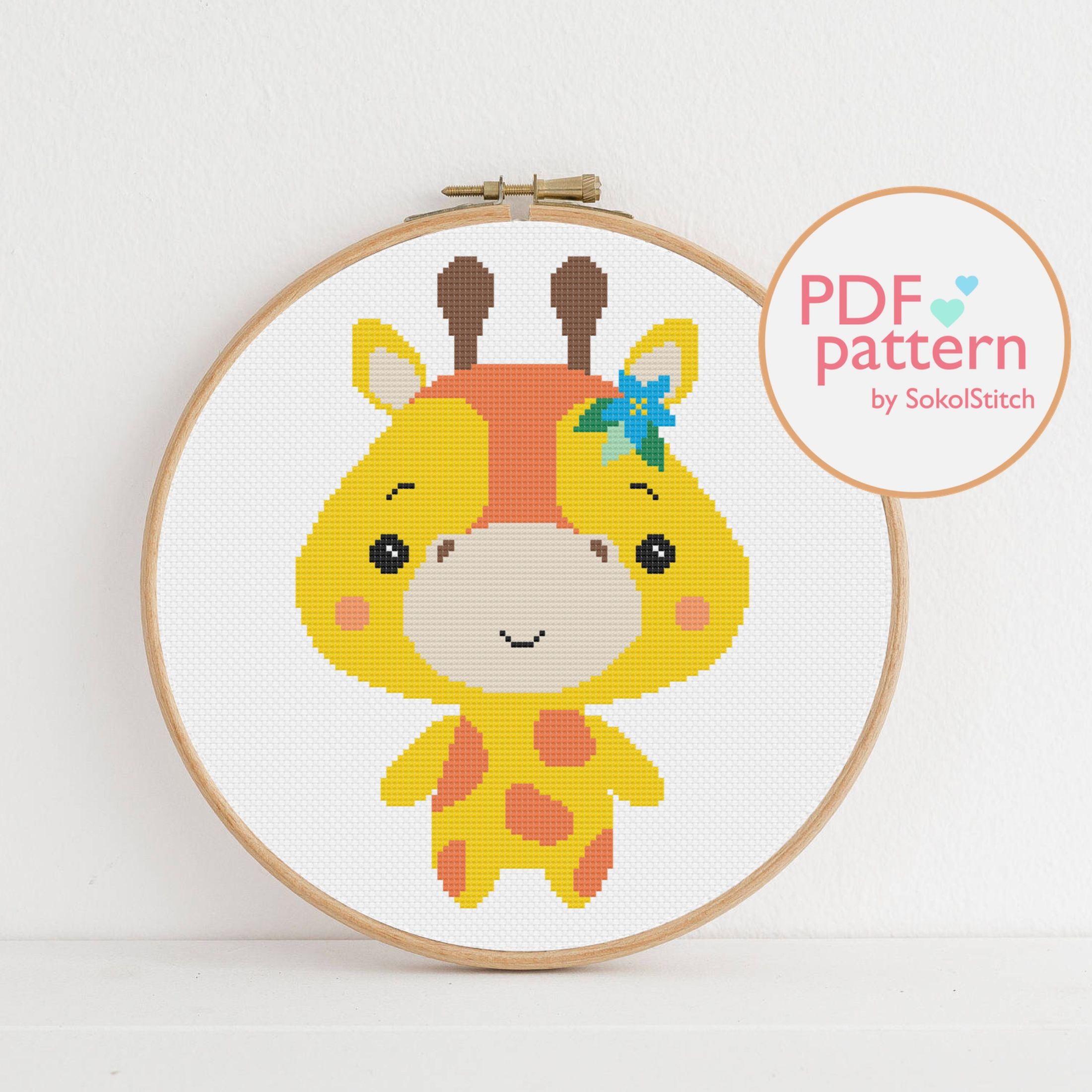Giraffe Cross Stitch Pdf Pattern African Animal Easy Etsy In