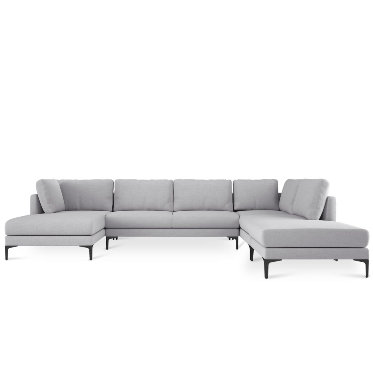 Adams U Shape Chaise Sectional Sofa Modern Gray Fabric 134 Modular Chaise Lounge Black Metal Leg Left Facing Castlery Modern Furniture Sectional Sofa With Chaise U Shaped Sectional Sofa U