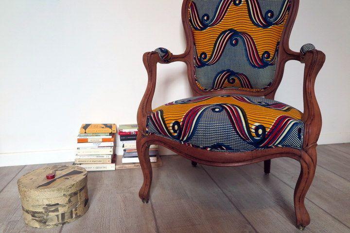 Feliz Cabriolet Louis Philippe Tissus Wax Mobilier De Salon Chaise Art Deco Fauteuil Classique