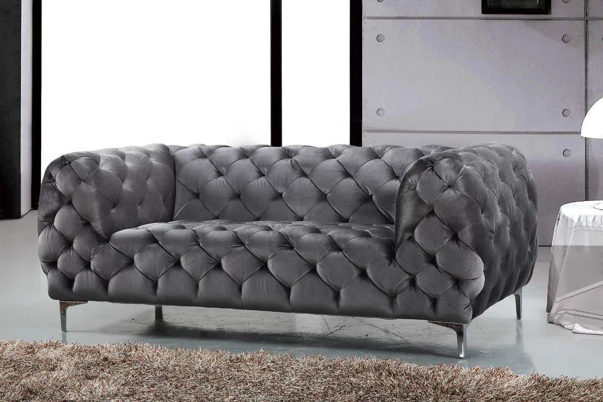 Luxurious Grey Velvet Chesterfield Tufted Loveseat New Ebay