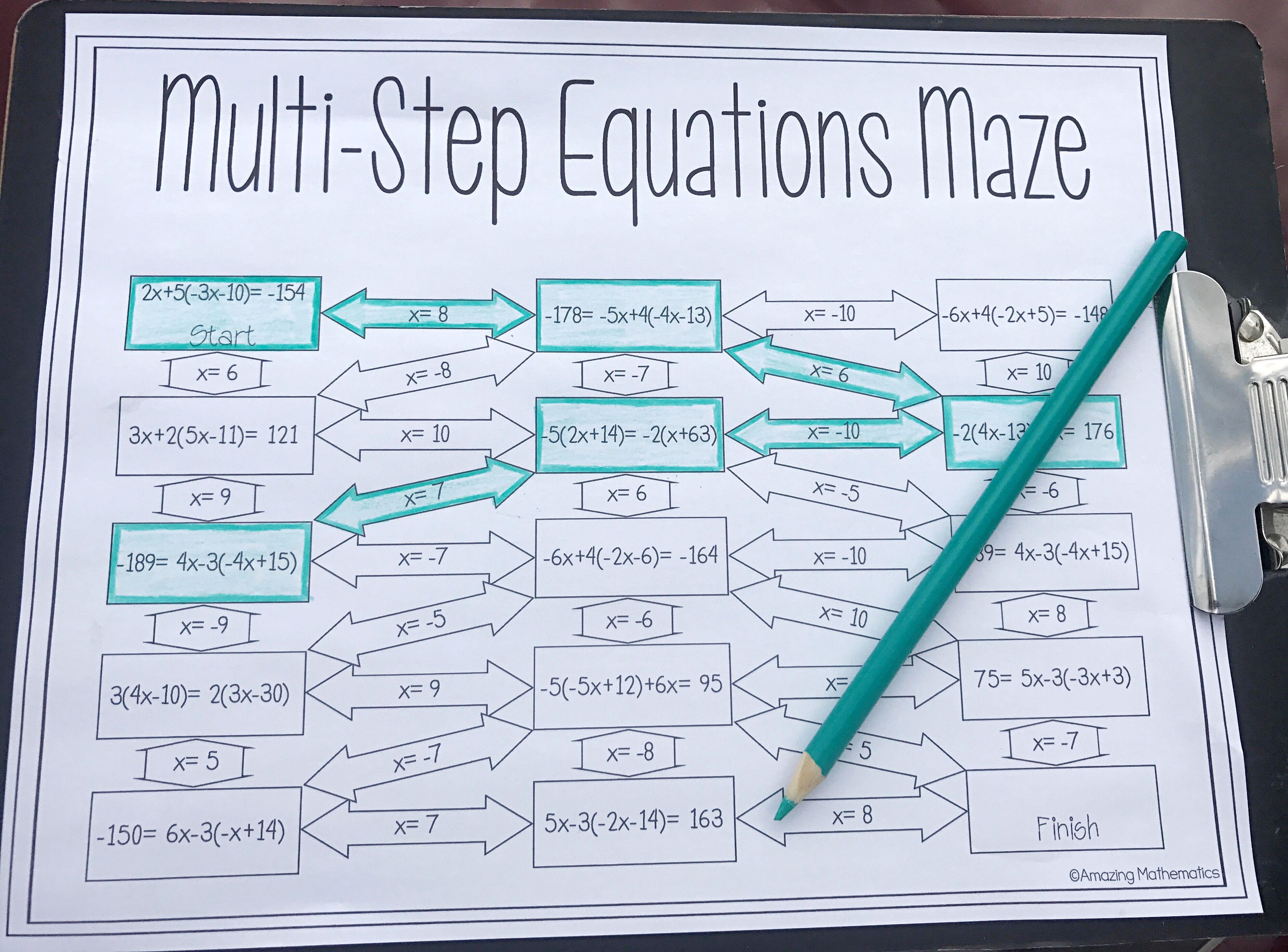 Solving Multi-Step Equations Worksheet - Maze Activity   Multi step  equations worksheets [ 2927 x 3962 Pixel ]