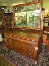 Large Vintage Burled Walnut Empire Style Dresser W Beveled Mirror Dovetailed