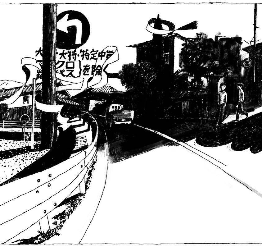 On the road 01 Test #blackandwhite #drawing #illustration #illustrator #people #life #lifestyle #japan #tatsurokiuchi #art #イラスト #イラストレーション #木内達朗