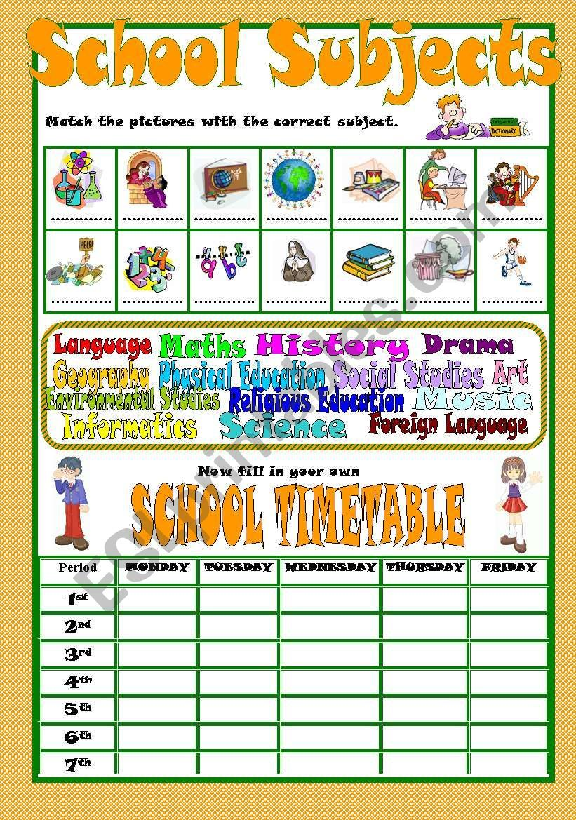 A Worksheet To Teach Or Revise School Subjects And Then Fill In A School Timetable According To Your Students One Bw School Timetable School Subjects Teaching [ 1169 x 821 Pixel ]
