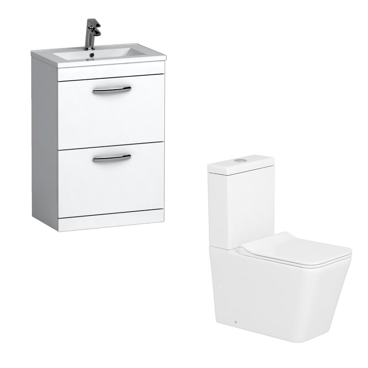 Turin 500mm Gloss White 2 Drawer Vanity Unit With Minimalist Basin Close Coupled Toilet Slim In 2020 Vanity Units 500mm Vanity Unit Close Coupled Toilets