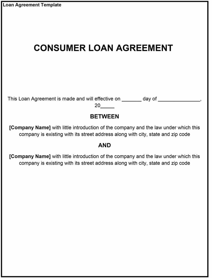 Loan Agreement Template Contract Template Personal Loans Templates