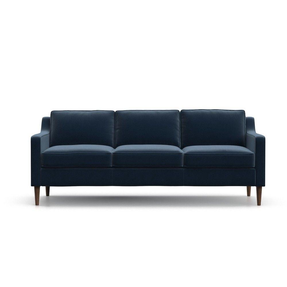 Otto Modern Velvet Sofa Royal Blue Af Lifestlye Adult Unisex Otto Sofa