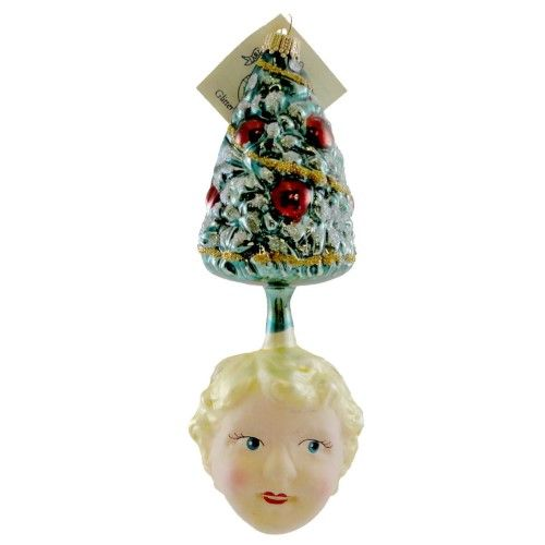 Larry Fraga Tree With Face Blown Glass Christmas Ornament Tree 5064