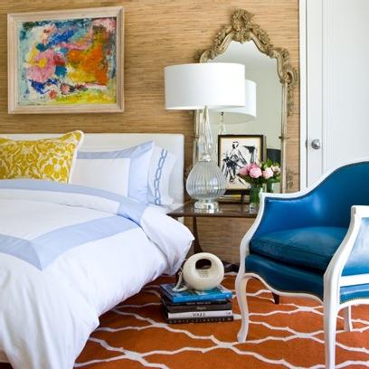 blue orange nude, bedroom