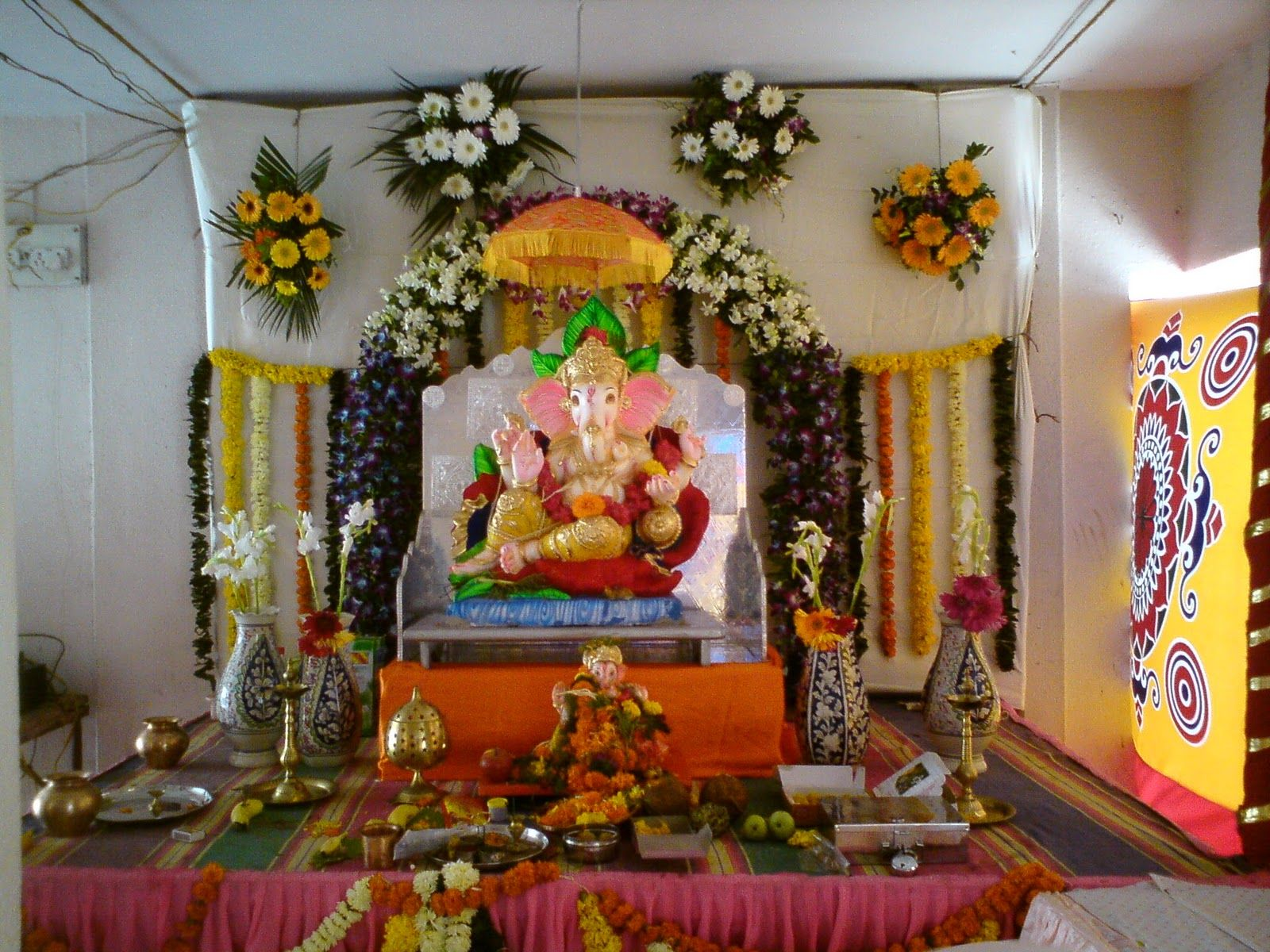 Ganpati pandal decoration lord ganesha pinterest Simple flower decoration ideas
