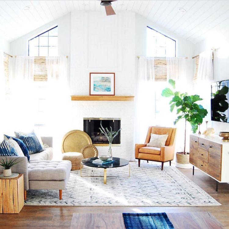 wohnzimmer ethno teppich kamin moderner landhausstil Teppich