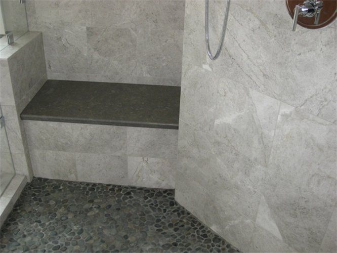 Master Bathroom 1 Shower Detail Limestone Slab Bench Marble Tile Walls And Pebble