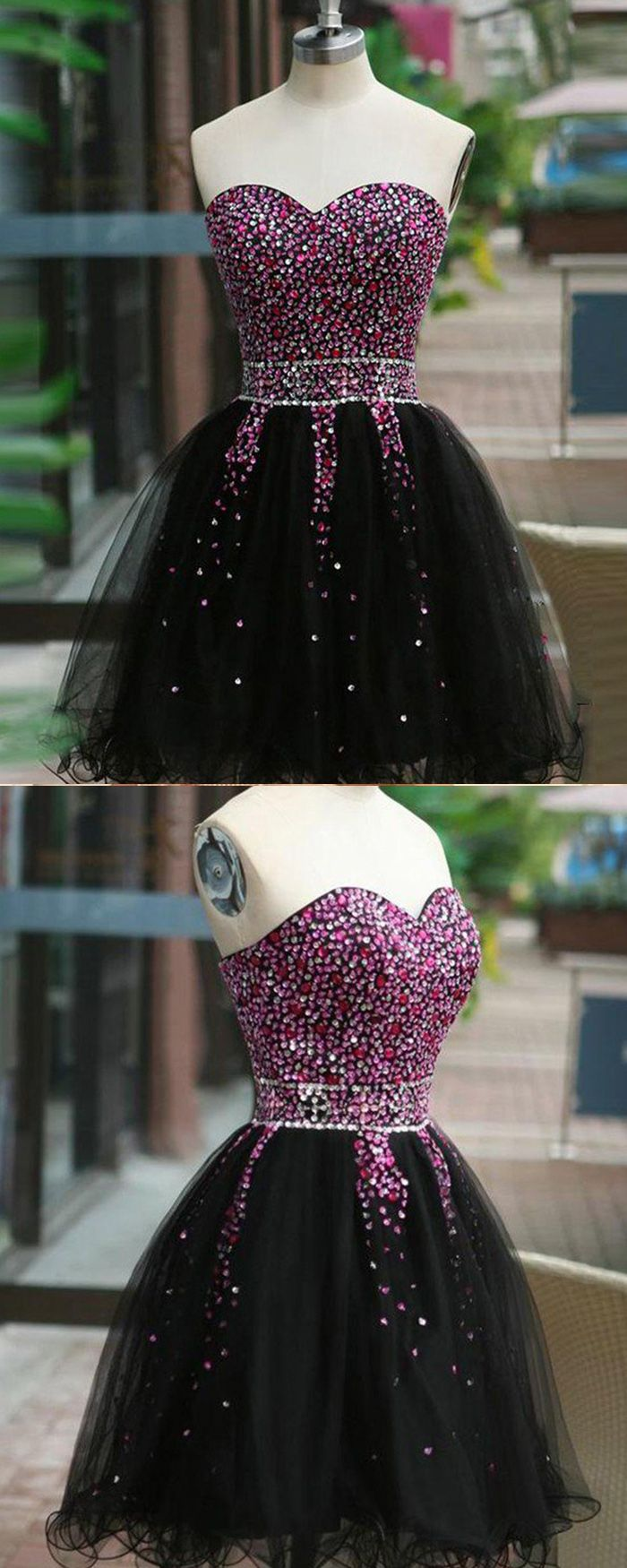 Sweetheart beading homecoming dress with black tulle skirt hd