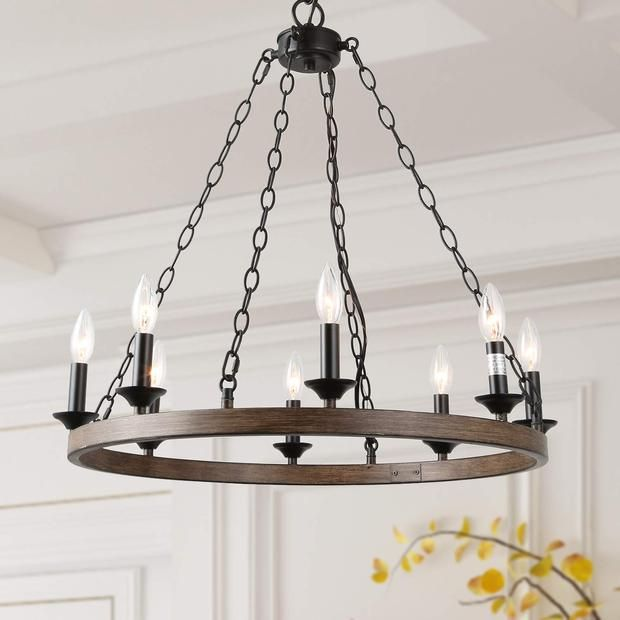Faux Wood Wagon Wheel Pendant 8 Lights Wagon Wheel