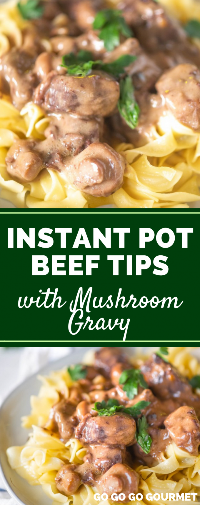 This easy Instant Pot Beef Tips recipe is swimming in delicious mushrooms and gravy! While it's not healthy or Whole 30 compliant, it is a comfort food that the whole family will enjoy! Best served over rice, noodles or mashed potatoes. #gogogogourmet #instantpotbeeftips #easyinstantpotrecipes #comfortfoodrecipes #beefandrice