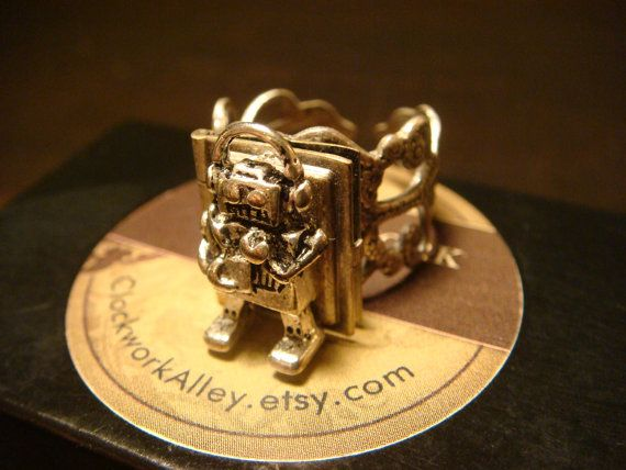 Robot Book Locket Antrique Silver  Filigree Ring by ClockworkAlley, $21.00