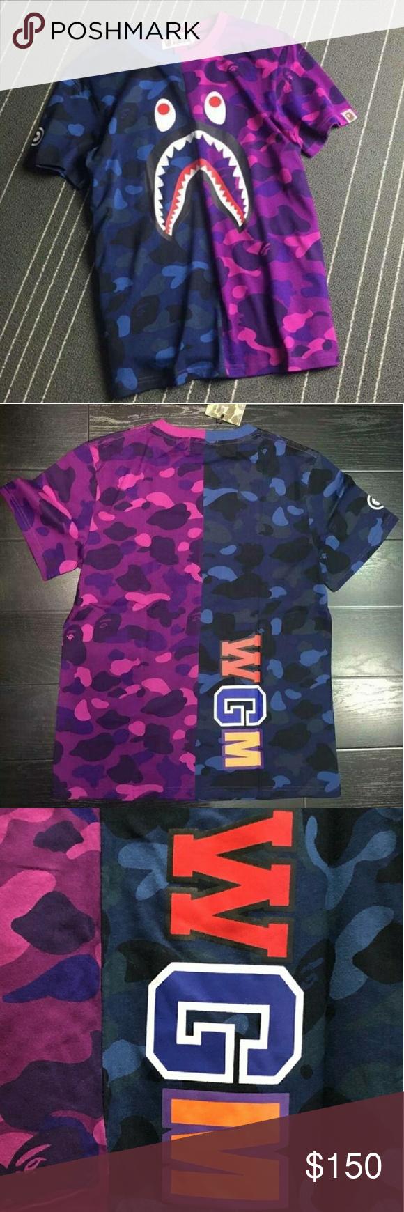 33715368 A Bathing Ape purple & blue camo Jaws tee. Bape purple and blue camo t-shirt.  Still has tags. First photo is stock Bape Shirts Tees - Short Sleeve