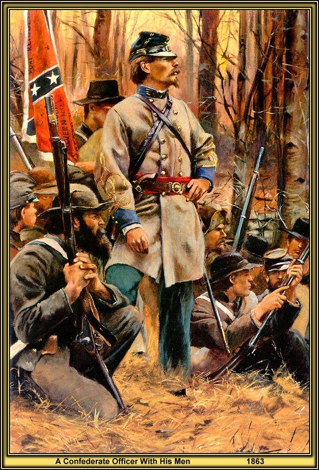 Un oficial confederado con sus hombres por el artista Don Troiani