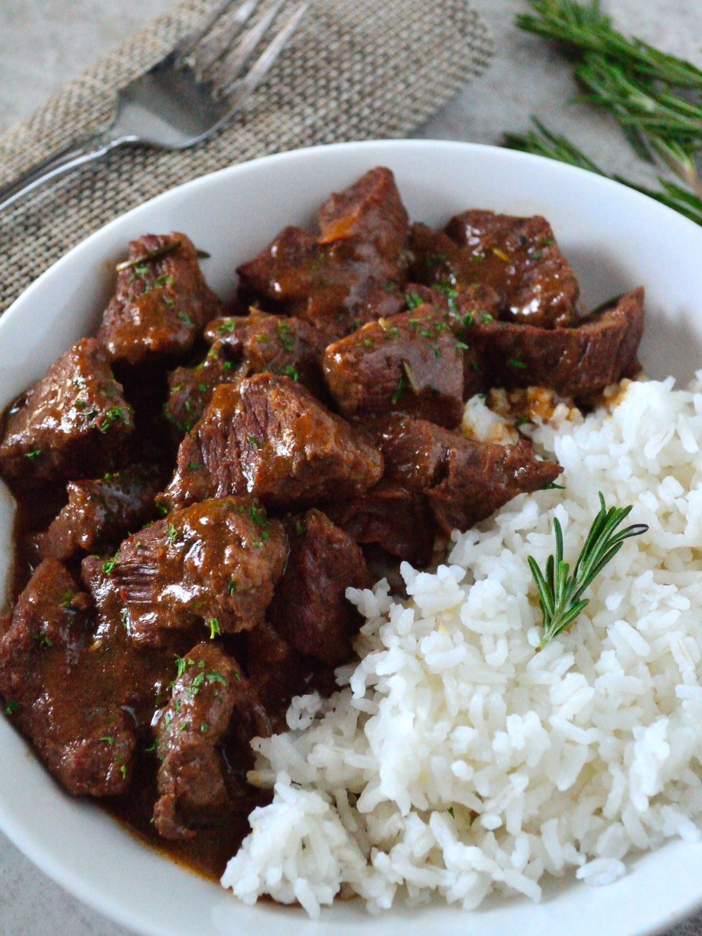 Garlic and Rosemary Beef Tips