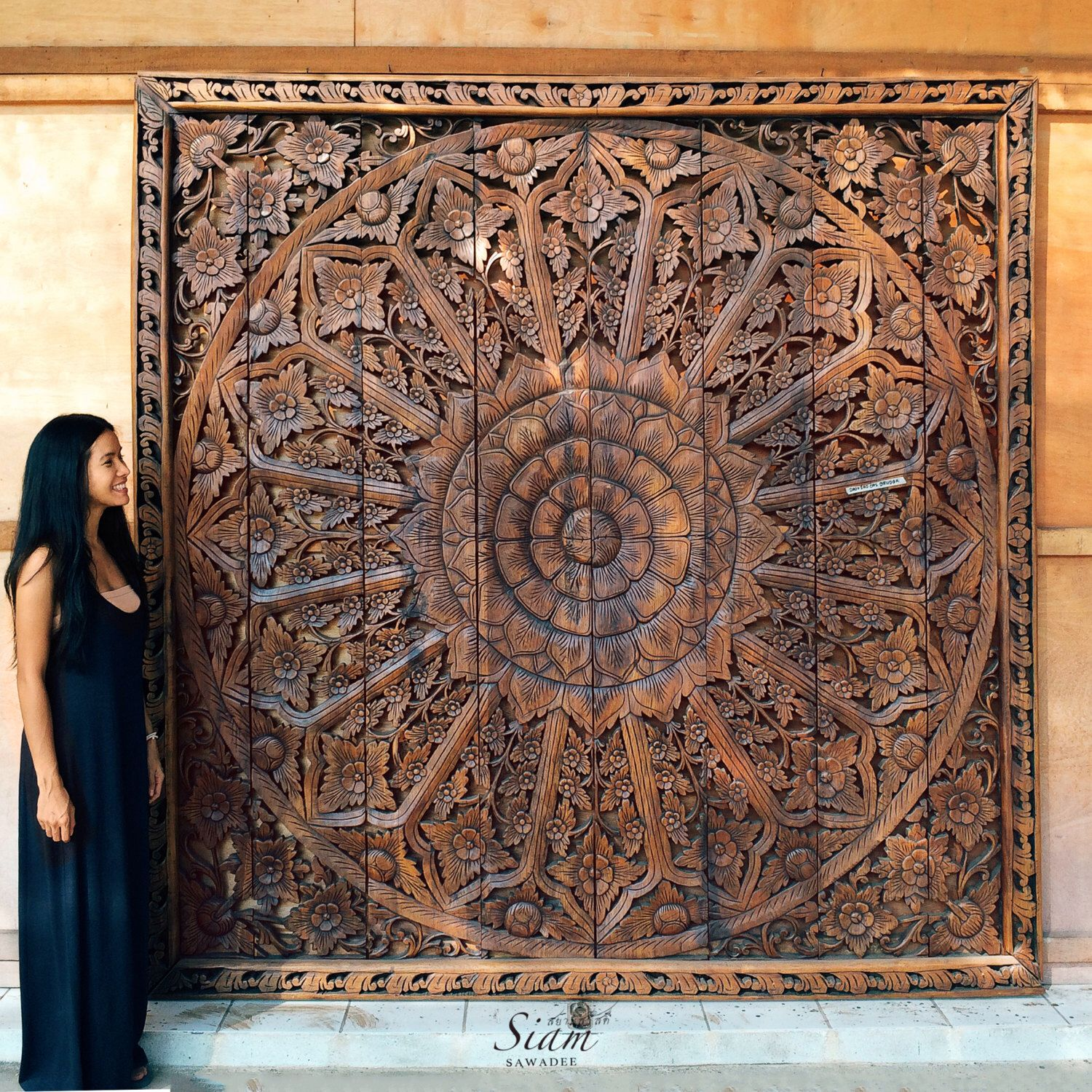 Large Relief Carving. Teak Wood Wall Panel. Thai Asian
