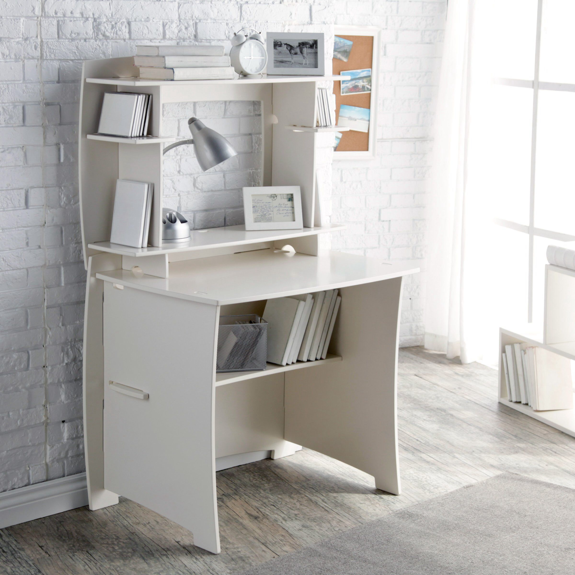 Hay Needle Legare 36 Inch White Writing Desk With Hutch Item Hn