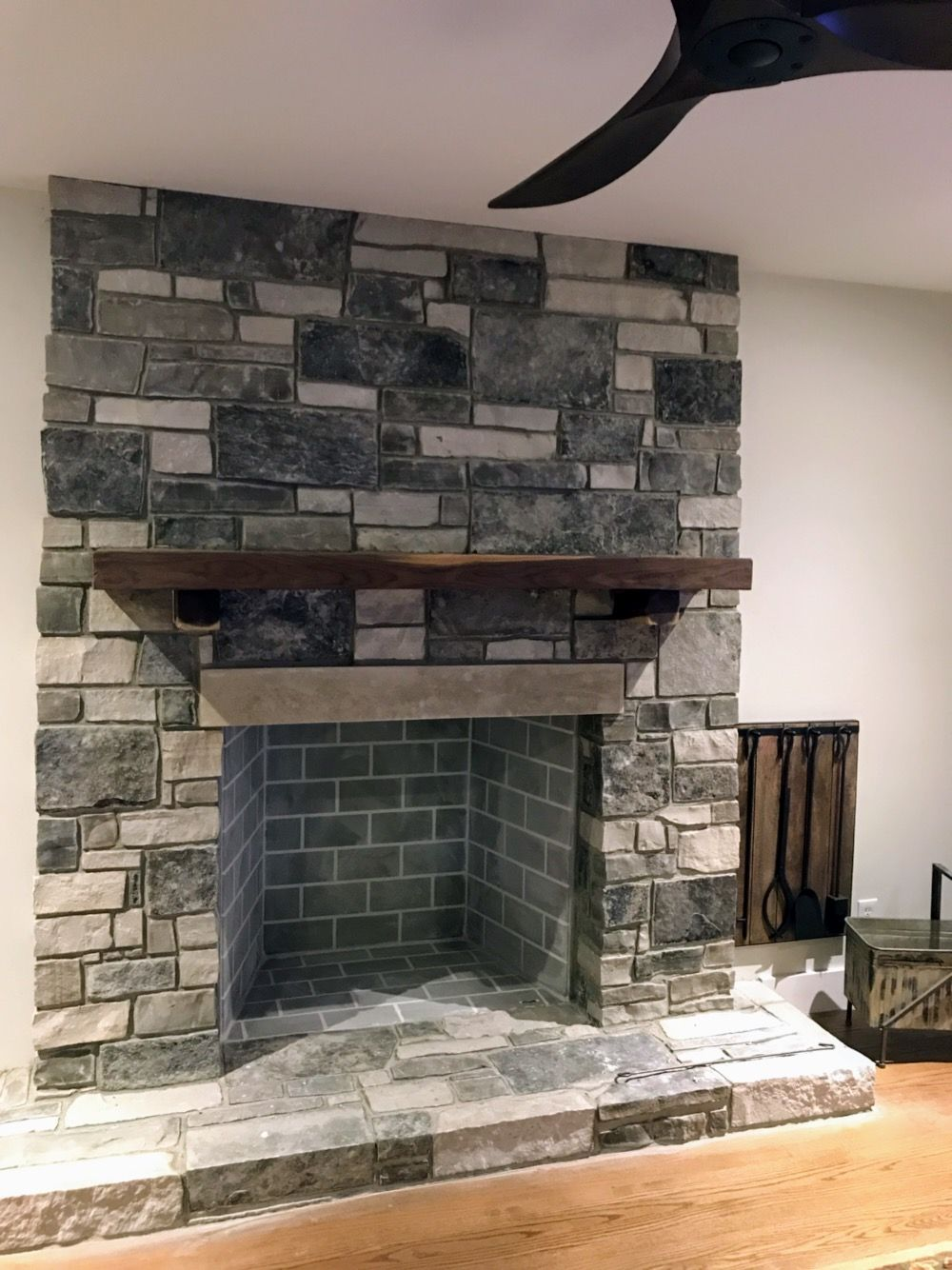 Fireplace Addition Almost Finished Halquist Mesquite Stone And