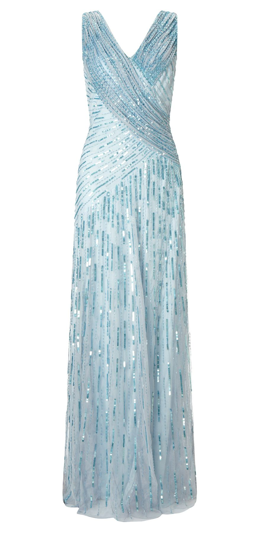 Juliet Sequin Long Dress Silver Blue. This full-length 1920s style ...