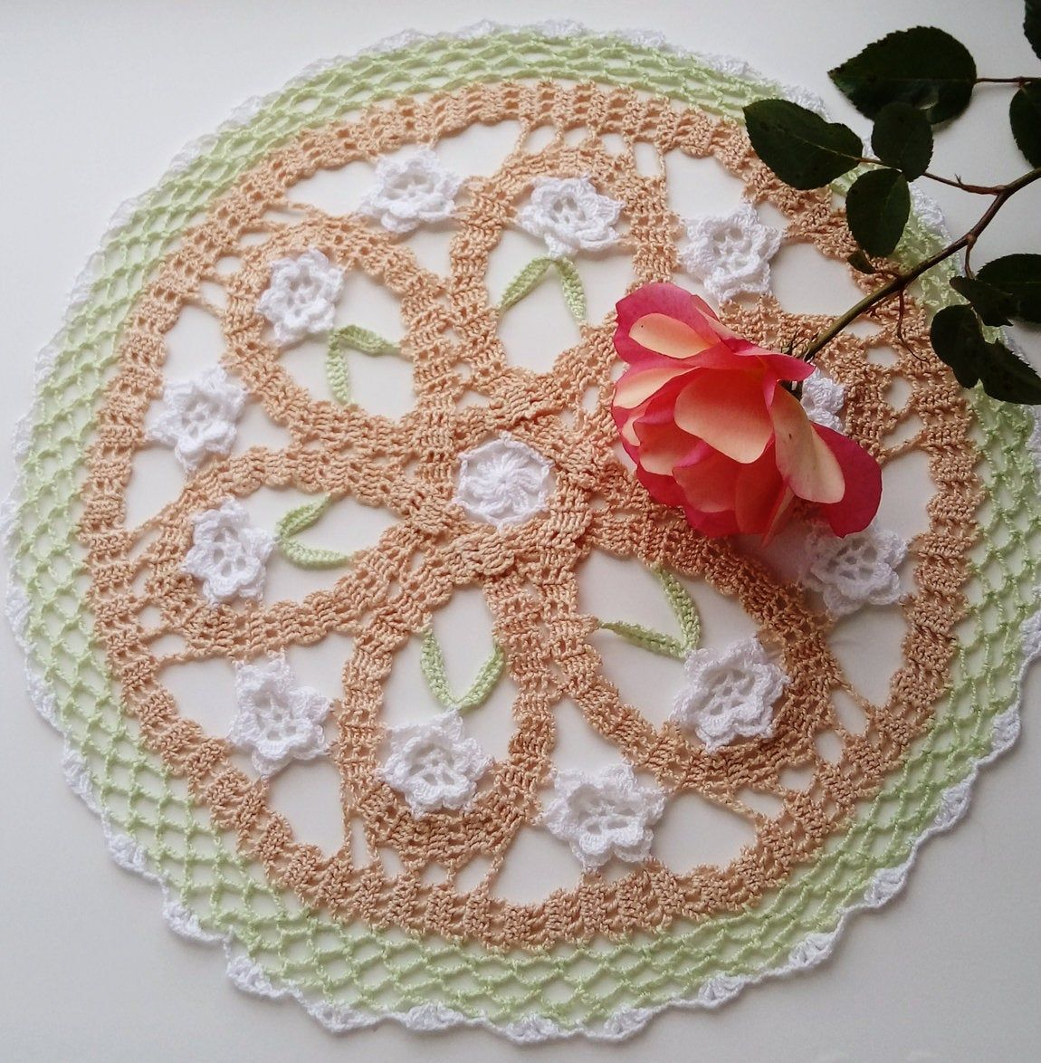 Brussels Lace Crochet Doily with Irish Crochet Flowers #irishcrochetflowers