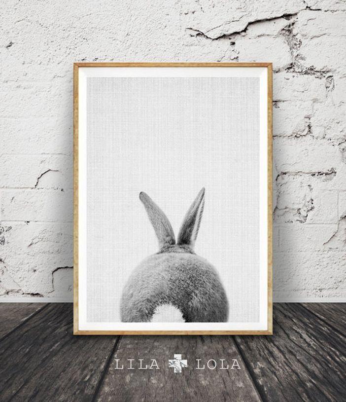 Rabbit print rabbit butt tail black and white animal by lilandlola