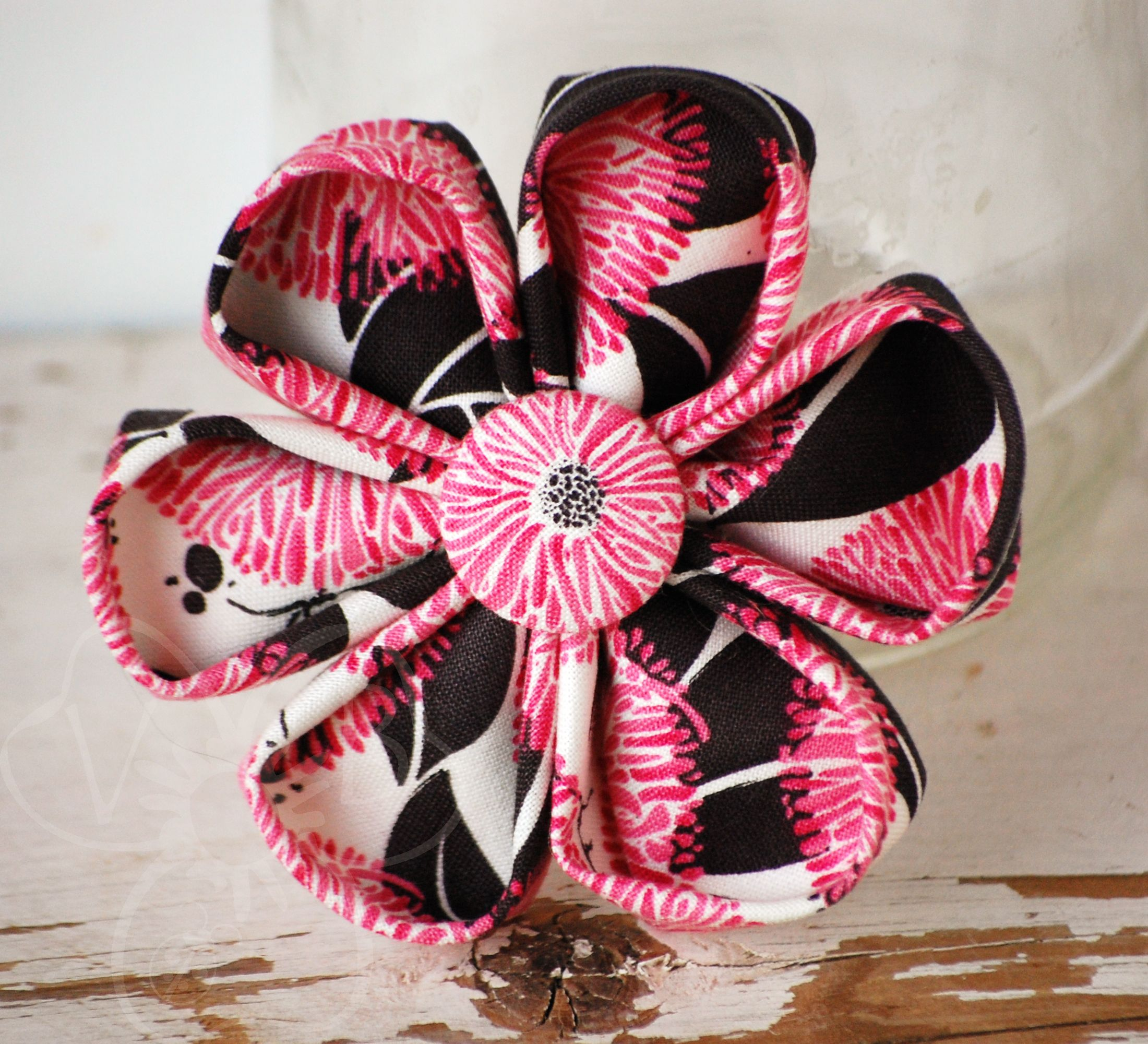 Wild Cherry Is A Large Eye Catching Cherry Blossom Style Flower In Vintage Black White And Hot Pi Hot Pink Flowers Handmade Hair Accessories Handmade Sellers