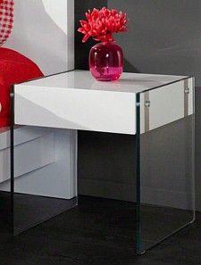 Bild Nachttisch Hochglanz Weiss Glas Mit Schublade Nachtkommode Beistelltisch Nachttisch Hochglanz Nachttisch Glas Nachttisch