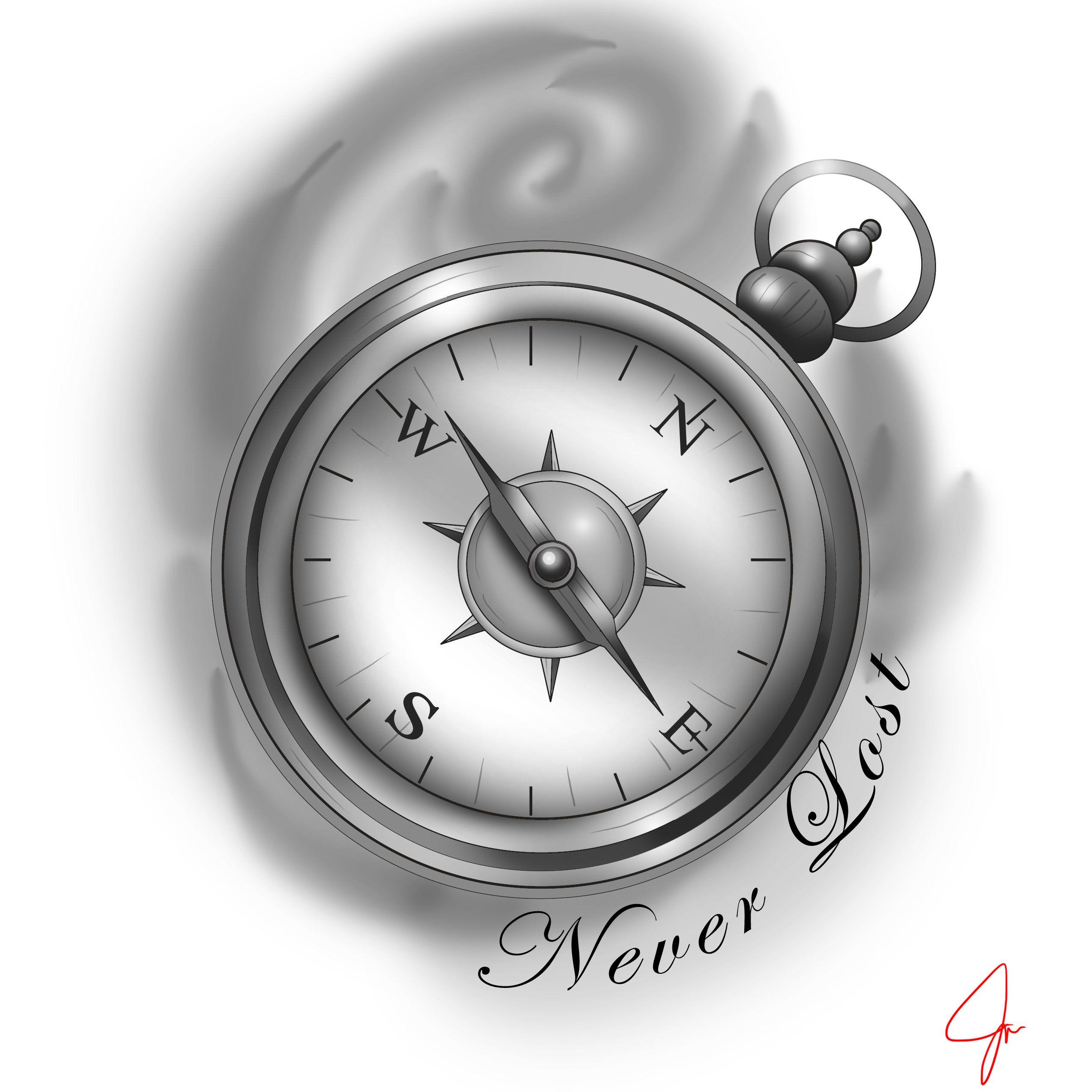 Compass tattoo black and grey male tattoo. Never lost | ArtistJazz ...