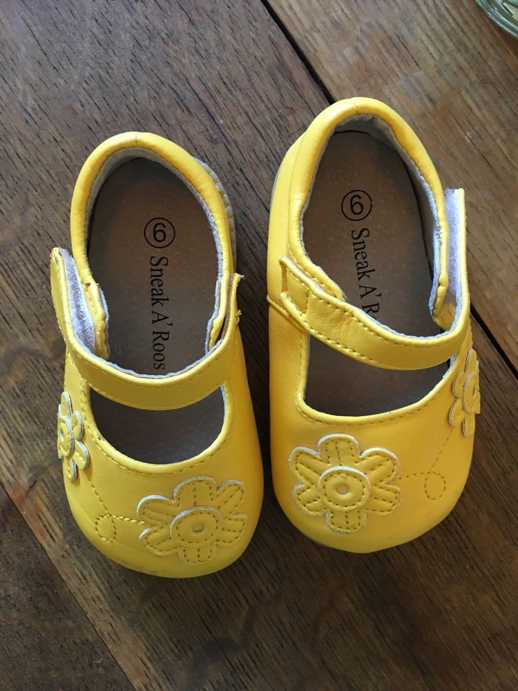 70003a2bc03a8 Toddler Girl size 5 6 YELLOW Mary Jane shoes by Sneak a Roos *HARD ...