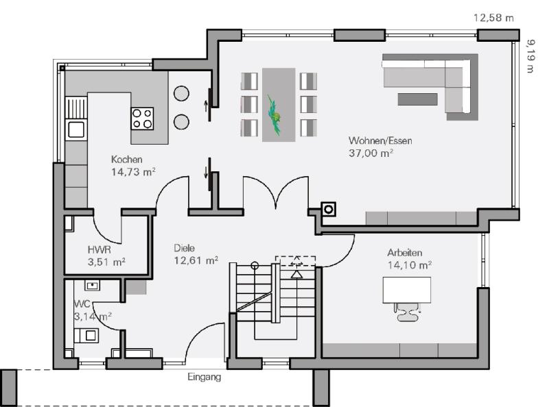 BAUMEISTERHAUS Haus Vettel Grundriss Erdgeschoss