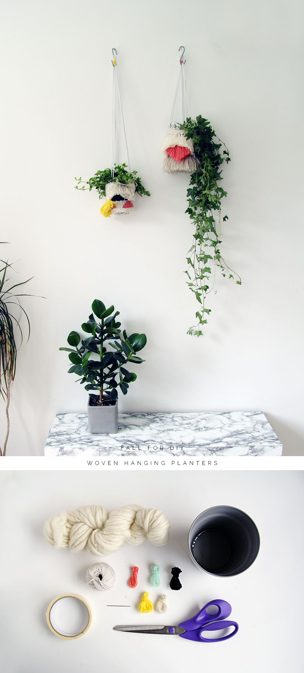 Combine hanging planters with a modern take
