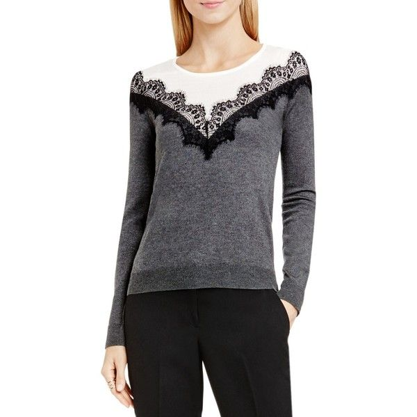 Vince Camuto Lace Trim Color Block Sweater ($105) ❤ liked on Polyvore featuring tops, sweaters, medium heather grey, vince camuto tops, lace trim top, color block tops, scallop hem top and vince camuto