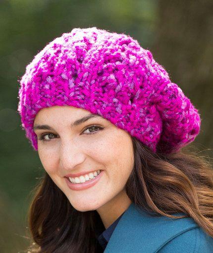 Eyelet Rib Slouchy Hat Free Knitting Pattern In Red Heart
