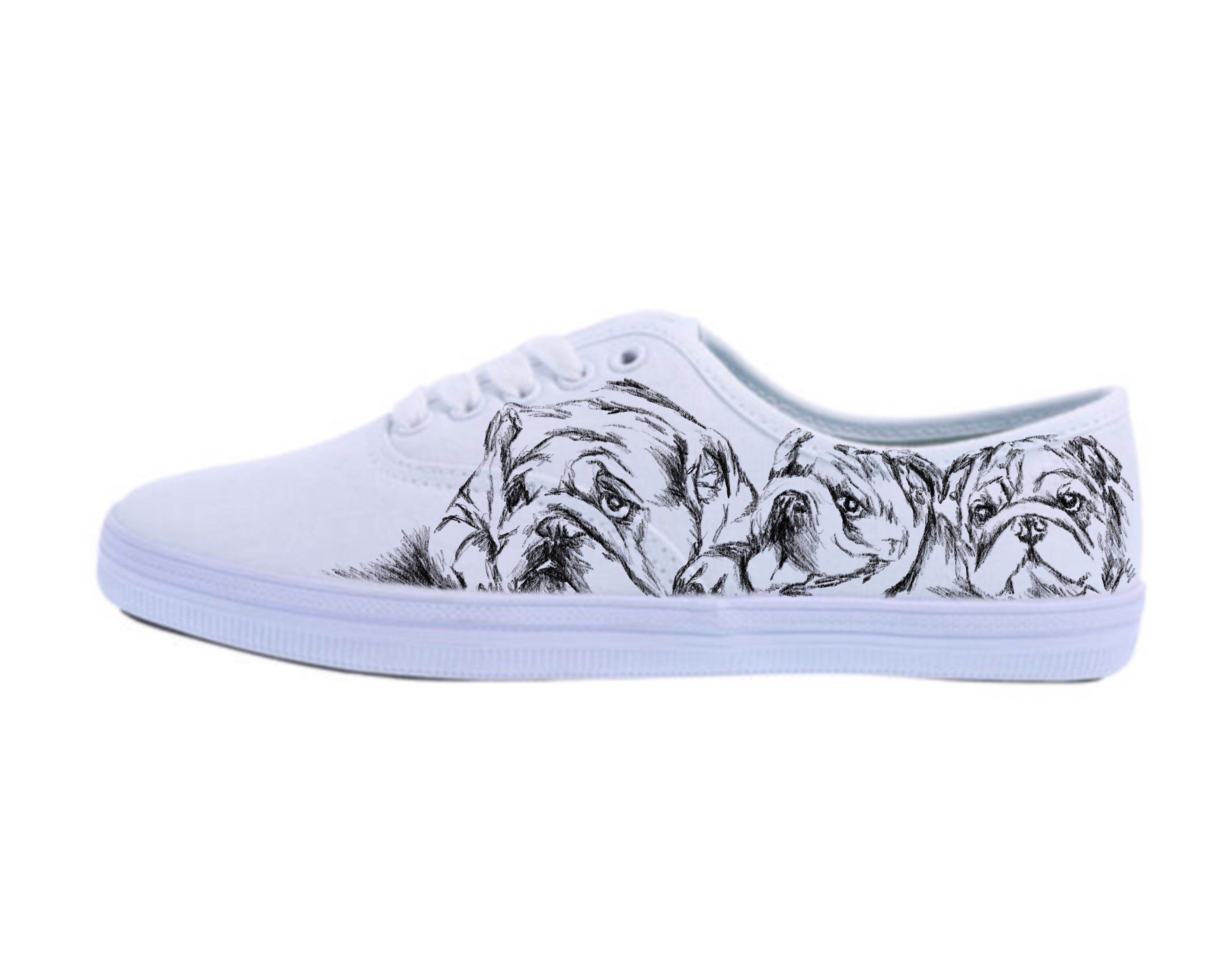 732b96d5288 Custom Women Bulldog Shoes Keds Style Canvas Sneakers Tennis Shoes Dogs Art  Drawing White Vans Addidas