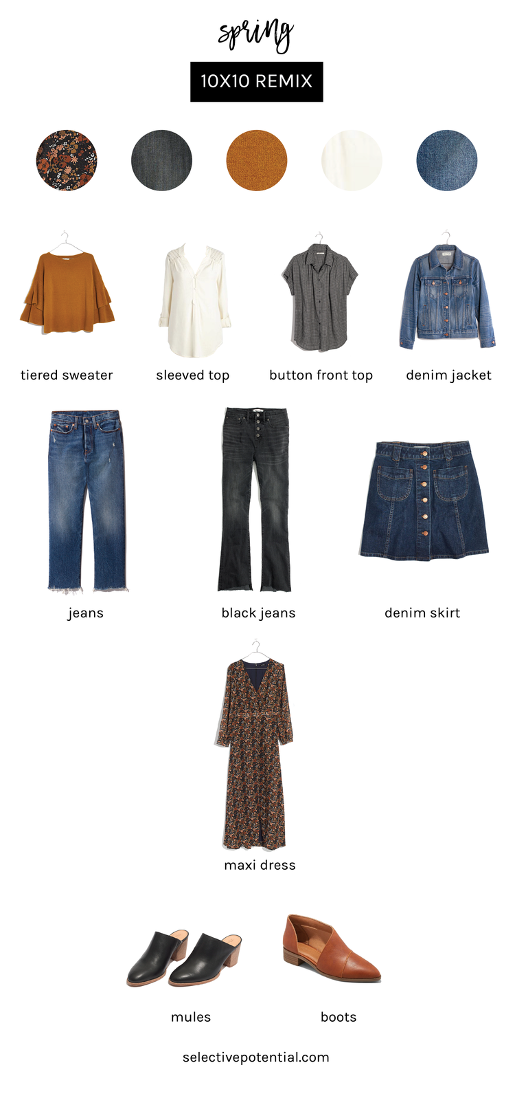 Spring 10x10 Challenge Selective Potential Fashion Minimal Fashion Capsule Wardrobe