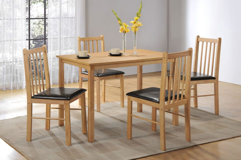 Natural Oak Effect Wooden Dining Table And 4 Chair Kitchen Dining