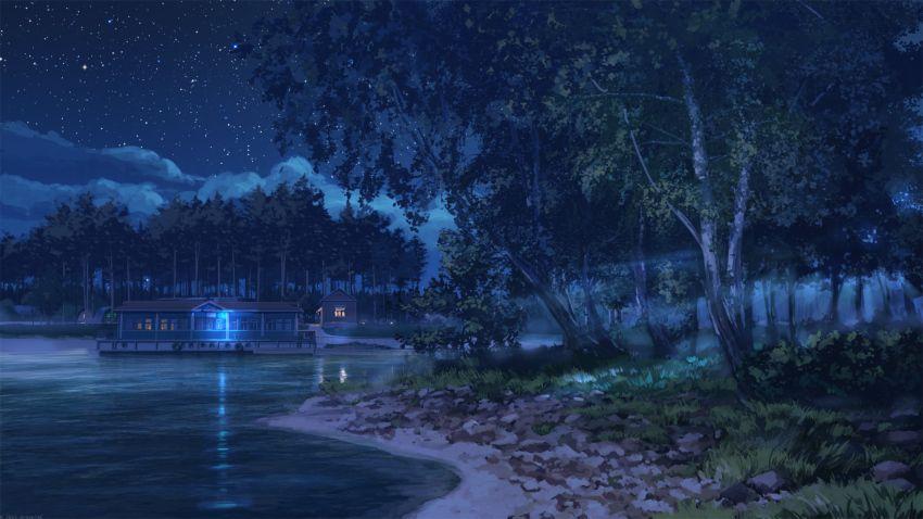 Anime Scenery Lake House At Night Dark Landscape Anime Scenery Night Scenery