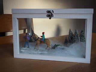 creatief en artist: Miniatuur kerst in een vitrine kistje